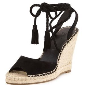 JOIE Phyllis Suede Lace-Up Wedge Espadrille Black